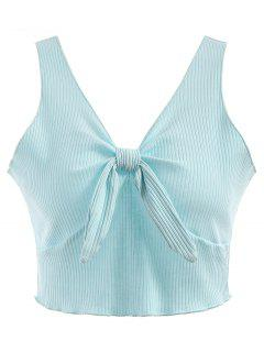 Plunging Neck Ribbed Crop Tank Top - Light Blue L