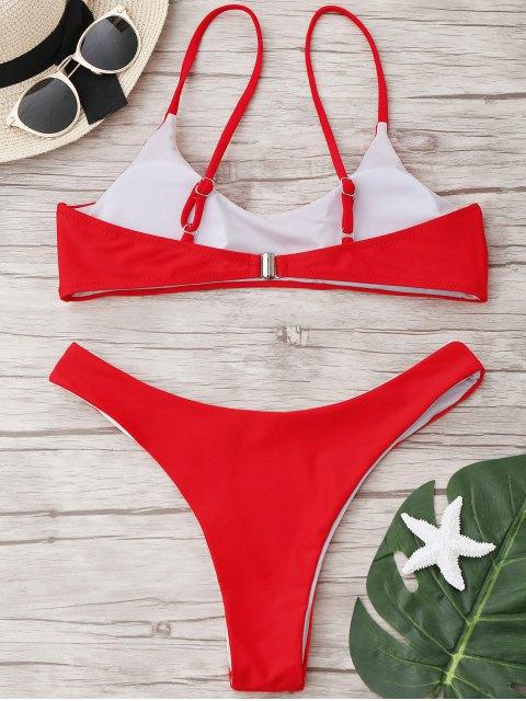 Traje de Bikini con Thong con Tirante en U con Corte Alto - Rojo L Mobile