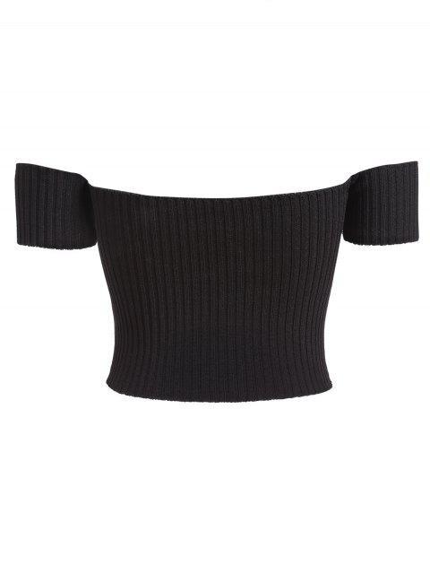 T-shirt Côtelé à Epaule Dénudée - Noir Taille Unique Mobile