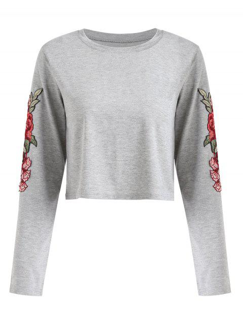 sale Long Sleeve Floral Appliques Tee - GRAY XL Mobile