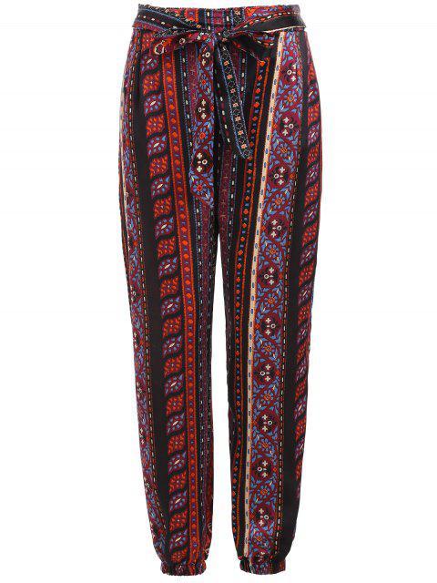 ladies Tribal Print Self Tie Pants - MULTI M Mobile
