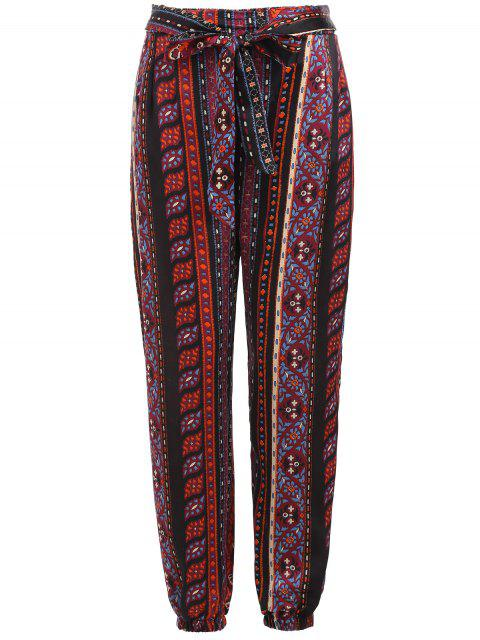 lady Tribal Print Self Tie Pants - MULTI L Mobile