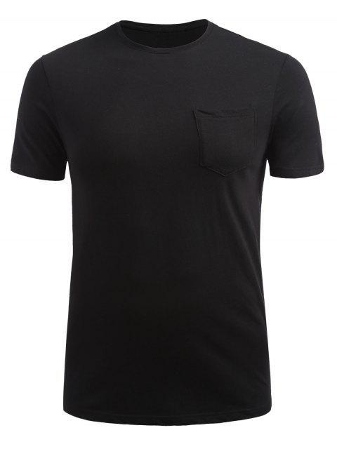 T-shirt avec Poche Devant à Manches Courtes - Noir L Mobile