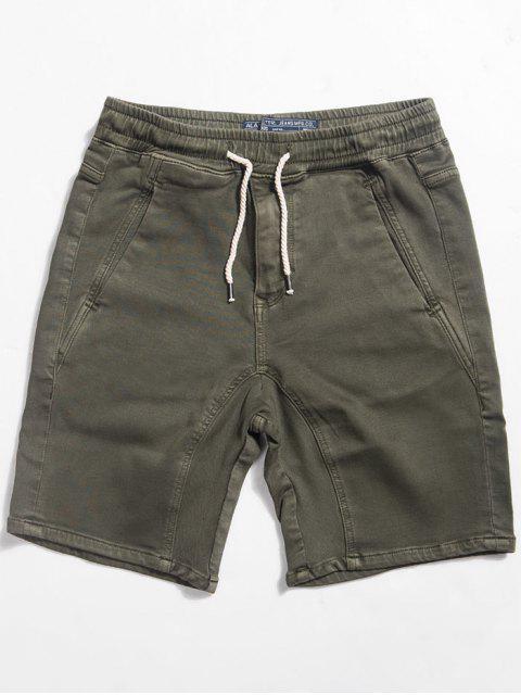 Pantalones cortos con cintura recta y lazo - Verde del ejército 2XL Mobile
