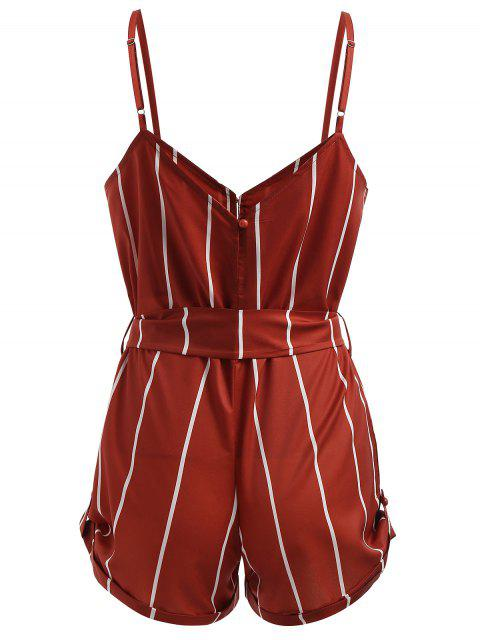 outfits Striped Belted Cami Romper - RED M Mobile