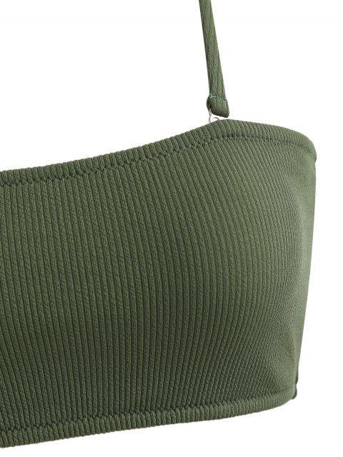 new Ribbed Texture Bandeau Bikini - MEDIUM FOREST GREEN L Mobile