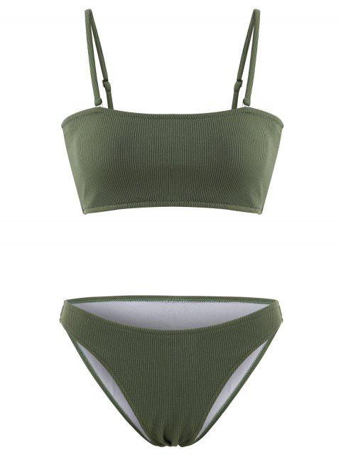 Bikini Bandeau Côtelé Texturé - Vert Forêt Moyen L Mobile