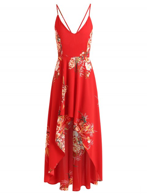 online Floral Criss Cross Asymmetrical Maxi Dress - RED M Mobile