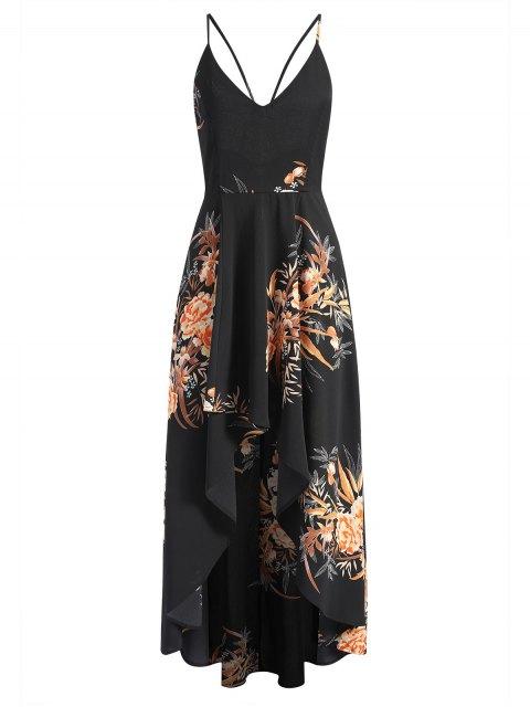 Vestido maxi asimétrico floral cruzado cruzado - Negro S Mobile