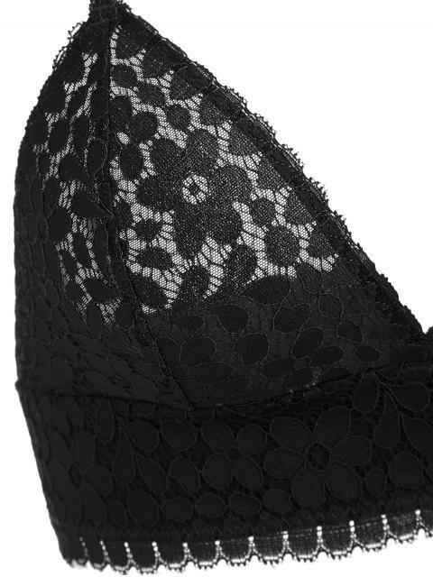 sale Seamless Lace Bra and Panties - BLACK 85B Mobile