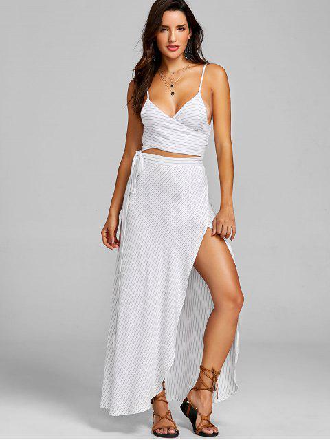 trendy Stripe Tie Top and Skirt Set - WHITE XL Mobile