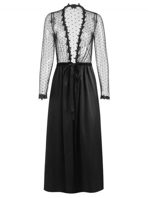 ladies Sheer Long Nightwear Robe - BLACK ONE SIZE Mobile