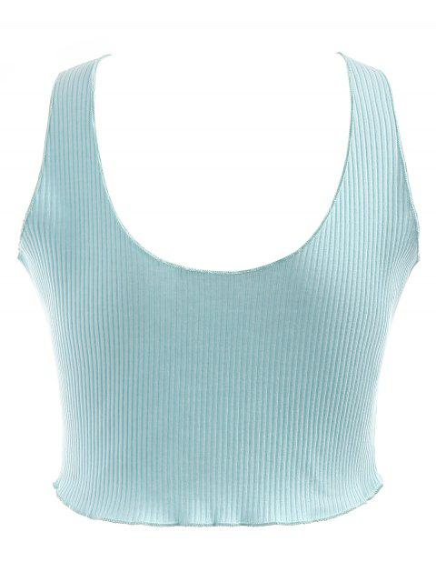latest Plunging Neck Ribbed Crop Tank Top - LIGHT BLUE XL Mobile