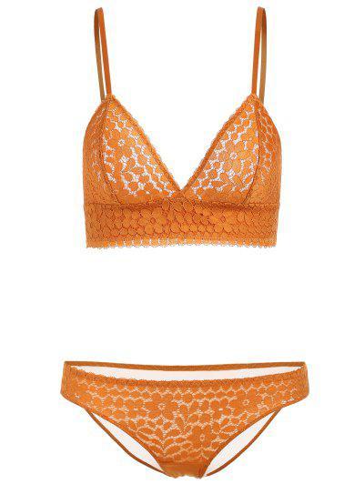 6004623b115ad Seamless Lace Bra And Panties - Yellow 70a
