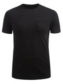 Front Pocket Short Sleeve T-shirt - أسود 2xl