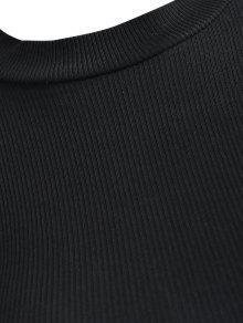 S Top Recortados Con Acanalado Cordones Negro RgqX6gw