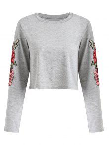 De Florales L Manga Larga Apliques Camiseta Con Gris Hw4EqOfxtn