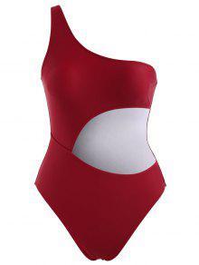 قطع الكتف واحد ملابس السباحة - نبيذ احمر L