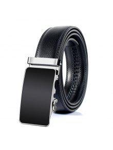 مشبك معدني مصقول الديكور فو حزام من الجلد - أسود 110cm