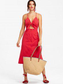 فستان ميدي ذو فتحات معقد - أحمر Xl