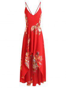 فستان ماكسي طباعة الأزهار غير متماثل - أحمر L