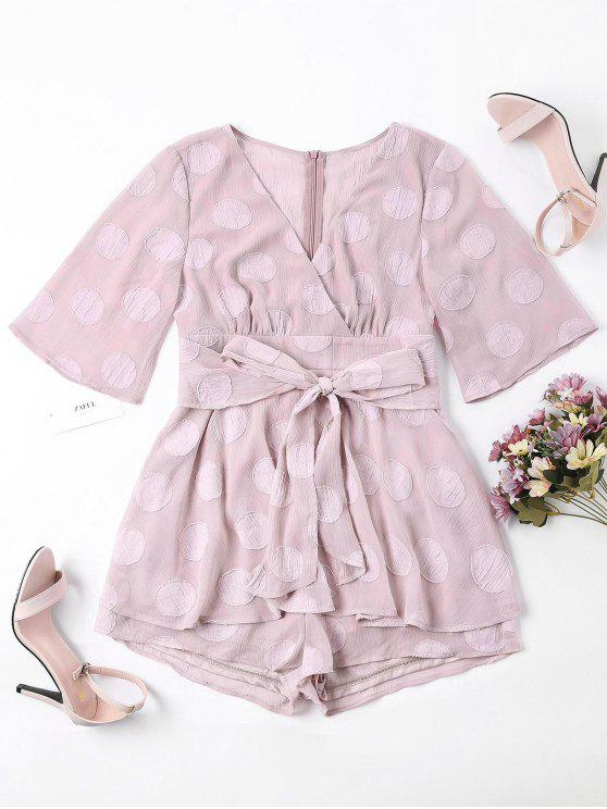 70a23187a5a 25% OFF  2019 Layered Surplice Polka Dot Romper In LIGHT PINK