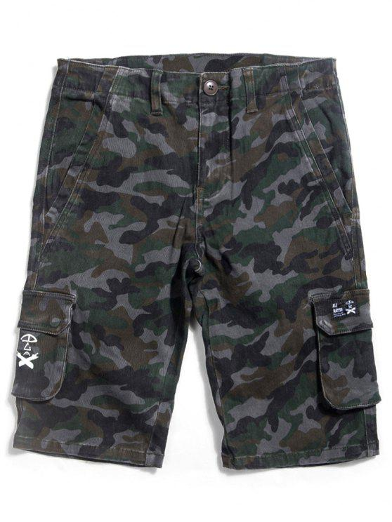 Camo Straight Zip Fly Shorts - ACU Camouflage 38