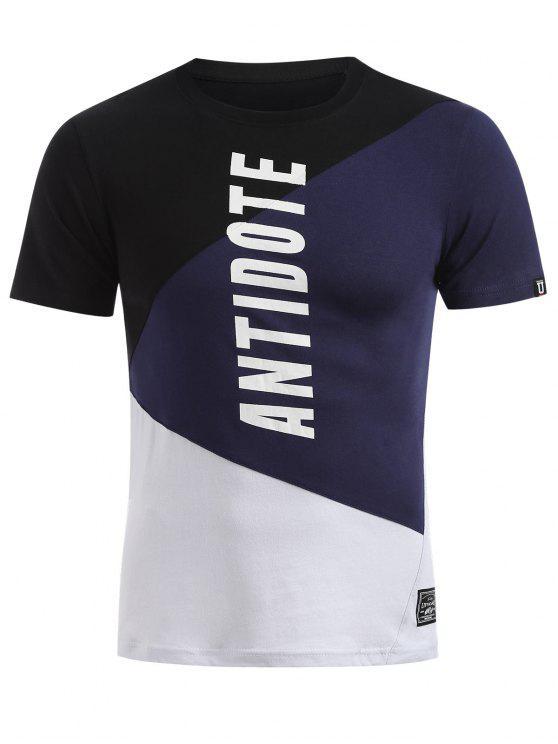 affordable Short Sleeves Colorblock Tee - DARK SLATE BLUE XL