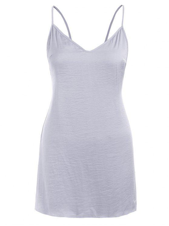 قميص نوم بظهر مفتوح - جيت جراي S