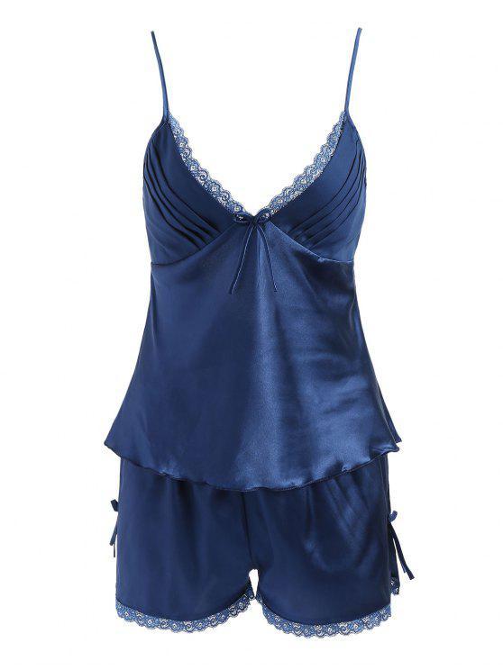 1f6a5501d2e7 46% OFF] 2019 Sleepwear Satin Camisole Set In LAPIS BLUE | ZAFUL