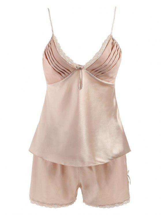 8f68f86ec7f8 55% OFF] 2019 Sleepwear Satin Camisole Set In CHAMPAGNE | ZAFUL