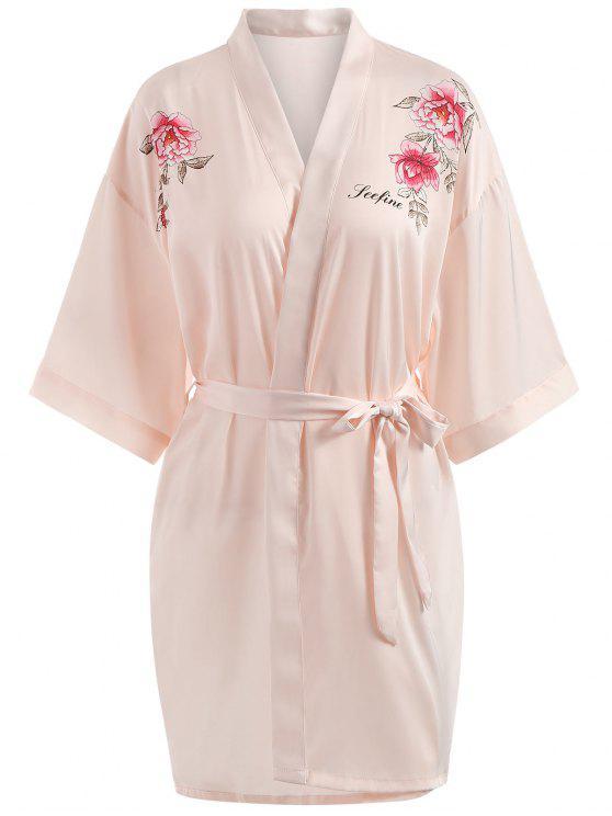 قميص نوم مزين بطبعة أزهار - وردي فاتح L