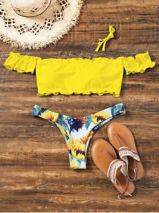 Bikini à Épaules Dénudées avec Bordure Style Laitue Motif Tournesol - Jaune S