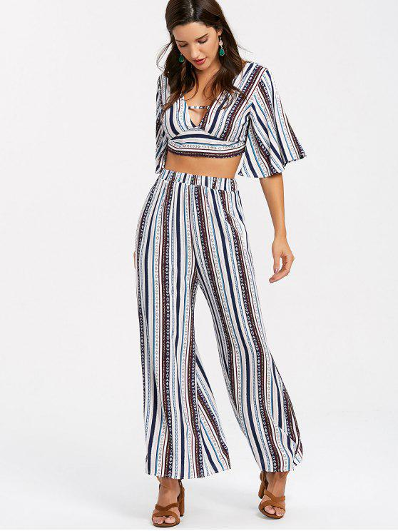 Striped Palazzo Pants Two Piece Set Multi Two Piece