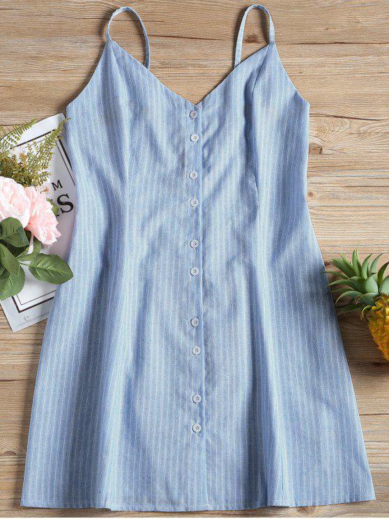 womens Cami Stripes Button Up Mini Dress - STRIPE L