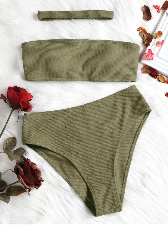 fashion Ribbed High Waisted Bikini Set with Choker - IGUANA GREEN S