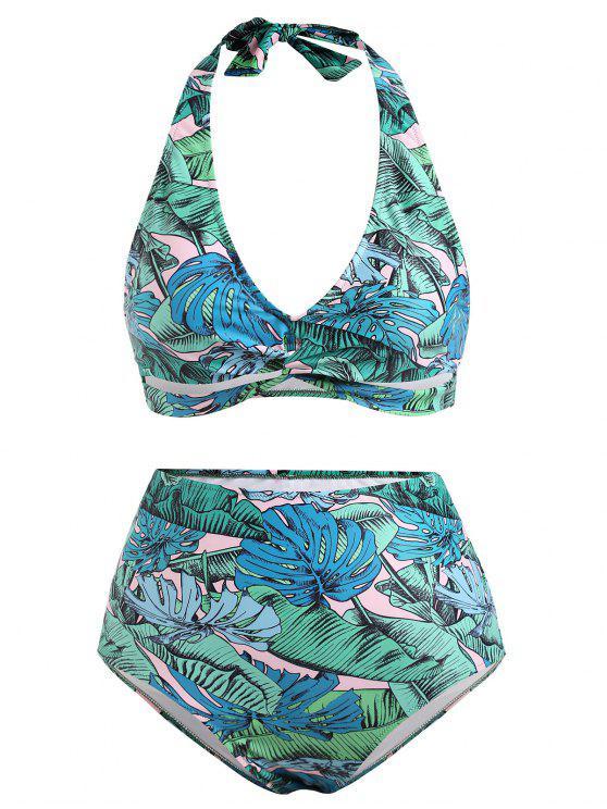 Plus Size Twist Tropical Swimwear De Cintura Alta De Cintura Alta - Verde 3X