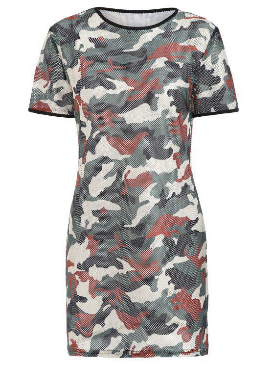 كامو شبكة ميني تي اللباس - التمويه الأخضر XL