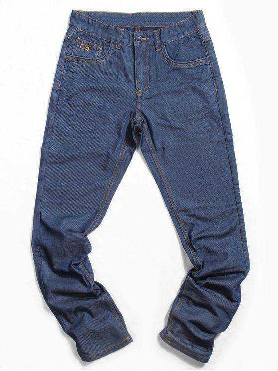 Zip Fly Straight Casual Jeans - Bleu 32