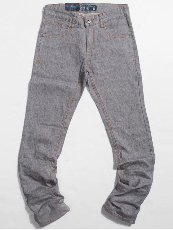 Leichte Wash Pocket Straight Jeans - Hellgrau 36