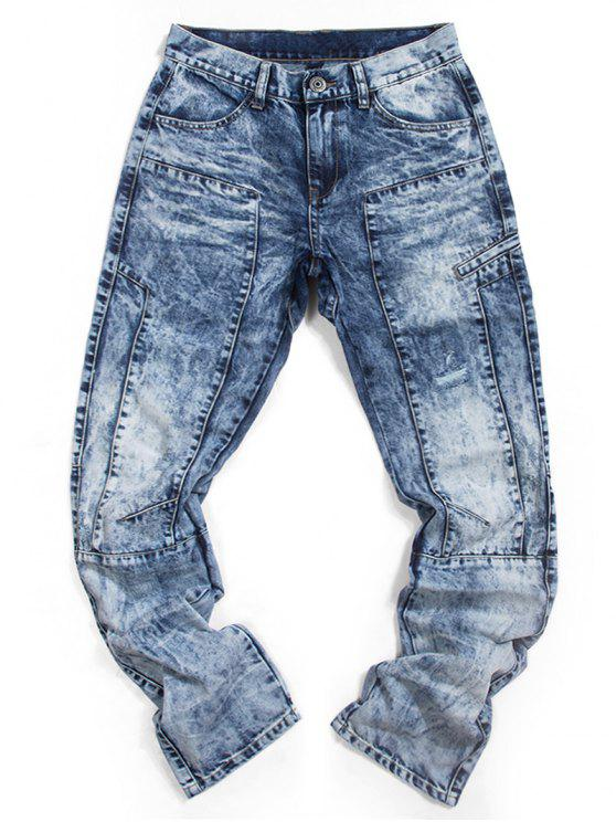 Jeans rasgados com zíper reto - Azul 36