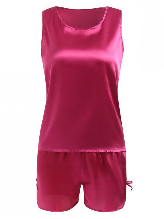 ladies Comfy Satin Sleepwear Set - ROSE RED XL