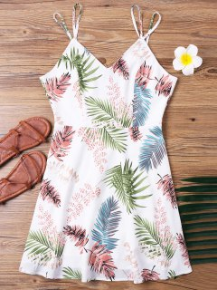 Tropical Print Spaghetti Strap Dress - Multi M