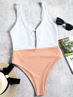 High Cut Two Tone One Piece Swimwear - Nude Pink M