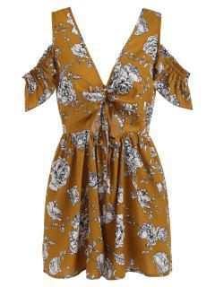 Plunging Neck Cold Shoulder Floral Romper - Orange Gold S