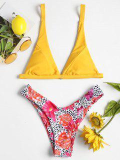 Blumen Leopard Hohe Geschnitten Bikini Set - Gelb S
