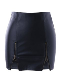 Zippers PU Skirt - Black S