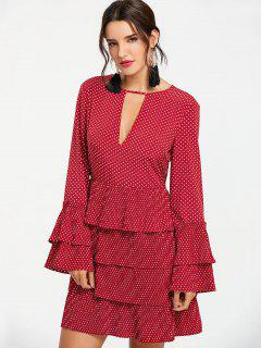 Tiered Ruffle Polka Dot Dress - Wine Red L