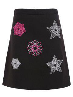 Embroidered Patch High Waist Skirt - Black Xl