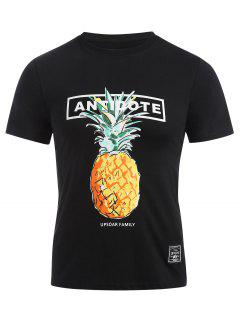 Round Neck Pineapple Pattern Tee - Black Xl
